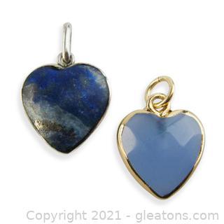 2 Genuine Gemstone Heart Pendants