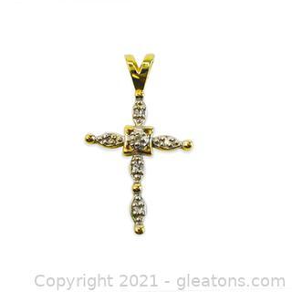 14kt Yellow Gold Diamond Cross