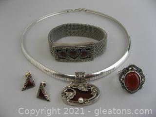 Carnelian and Marcasite Jewelry Set