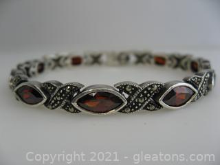 Beautiful Garnet and Marcasite Bracelet