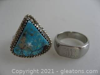 2 Unique Silver Rings
