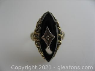 Vintage Onyx and Diamond Ring