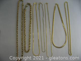 Lot of Gold Tone Chains