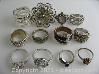 Costume Silver Tone Ring Lot