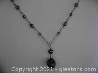 Hematite Beaded Skull Necklace in Sterling Silver