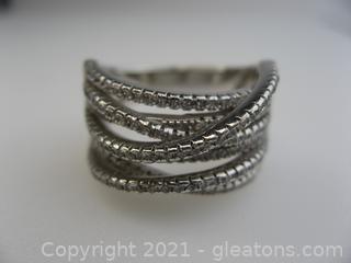 Sterling Silver CZ Criss Cross Ring