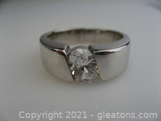 Sterling Silver Oval CZ Ring