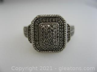 Beautiful Pave Diamond Ring in Sterling Silver