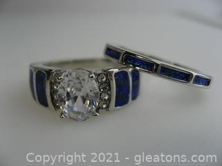 Very Unique CZ Ring and Blue Enamel Sterling Silver Ring Set