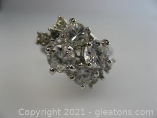 Beautiful Cascade CZ ring in Sterling Silver
