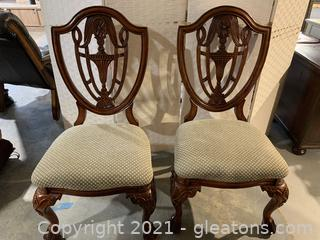 Walnut Upholstered Shield-Back Side Chairs W/ Carved Wood Legs (Lot of 2)