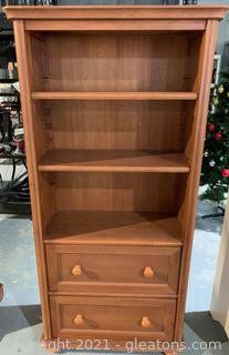2 Shelf & 2 Drawer Bookshelf Storage Cabinet