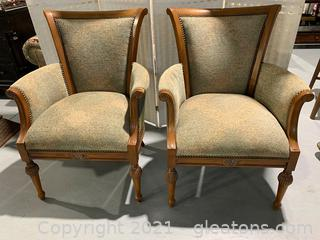 Upholstered & Wood Arm Chairs W/ Nail Head Trim (Lot of 2)