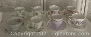 Eight Assorted Fine Bone China Teacups/Saucers II