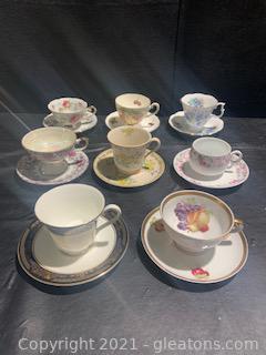 Eight Assorted Fine Bone China Tea  Cups /Saucers I