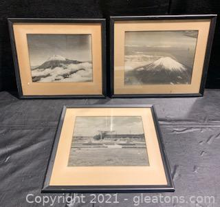 Three Black and White Framed Photos From Japan