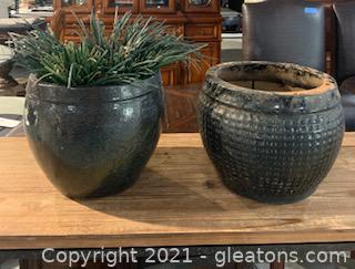 Two Black Planters