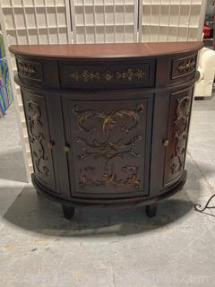 Gold Embellished Hallway Console Chest/ 1 Drawer/ 3 Cabinet Doors W/Storage