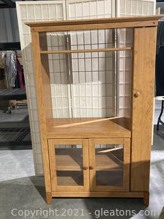 Handy Storage Cabinet W/Ample Storage Space, Microwave , T.V. Perfect for Small Areas !