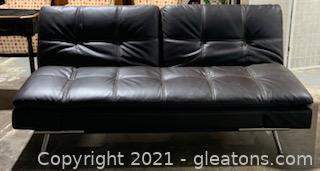Brown Leather Euro Lounger Futon