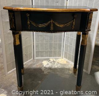 Black and Gold Painted Accent Table