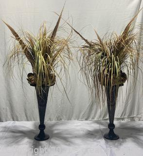 Two Metal Vases with Faux Plants
