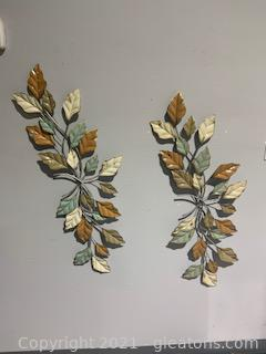 Two Metal Floral Wall Decor Pieces
