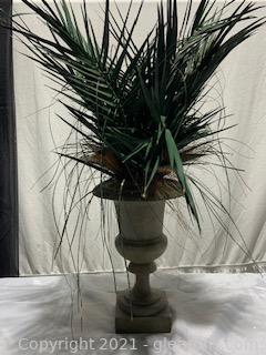 Small Tabletop Urn with Faux Palm