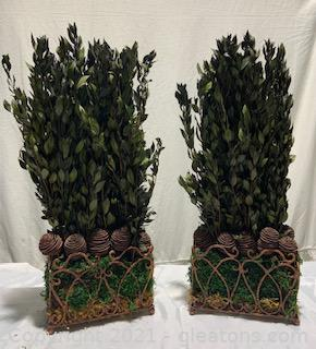 Pair of Square Floral Tabletop Decor Items