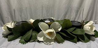 Faux Magnolia Three Candle Holder