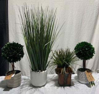 Four Small Faux Plants in Adorable Pots