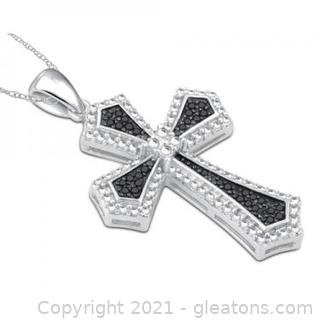 Beautiful Womens 14K White Gold Over Sterling Silver 0.12 CTW Diamonds 18 Inch Designer Necklace