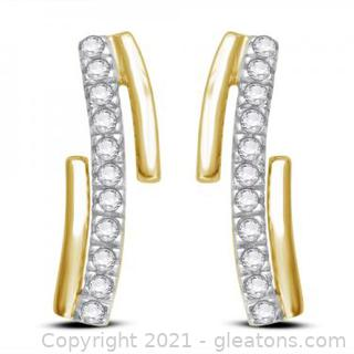Beautiful Womens 14K Yellow Gold Over Sterling Silver 0.22 CTW Diamonds Designer Earrings