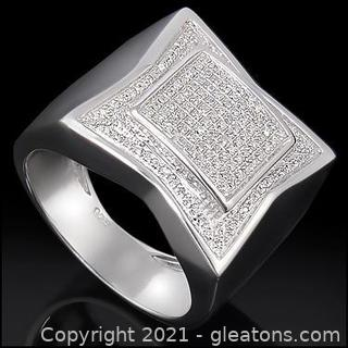 Dressy Mens 14K White Gold Over Solid Sterling Silver 0.60 CTW Diamond Size 11 Designer Ring