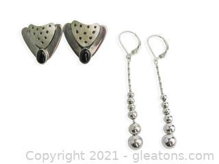 2 Pairs of Sterling Silver Earrings