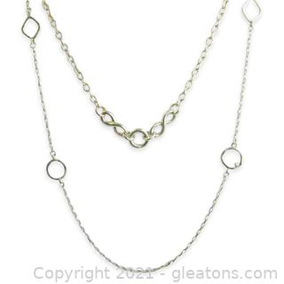2 Beautiful Sterling Silver Link Necklaces