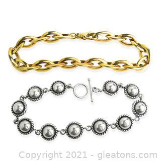 2 Sterling Silver Link Bracelets