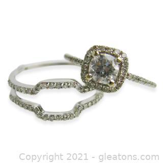 Beautiful 14kt White Gold Diamond Engagement Ring W/Diamond Guard