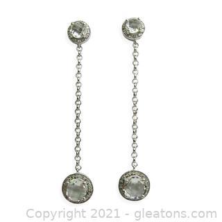 Really Fun Green Amethyst and Diamond Dangle Earrings in Sterling Silver