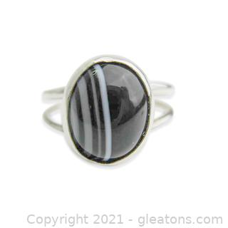 Unique Banded Agate Ring in Sterling Silver