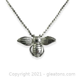 Honey Bee Necklace in Sterling Silver