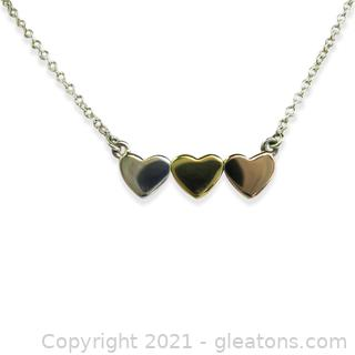 Cute Tri-Colored Heart Necklace in Sterling Silver