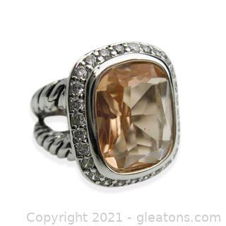 Sterling Silver Imitation Topaz Ring