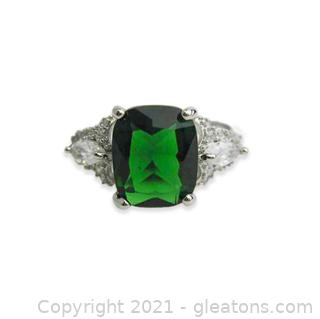 Imitation Emerald Ring in Sterling Silver