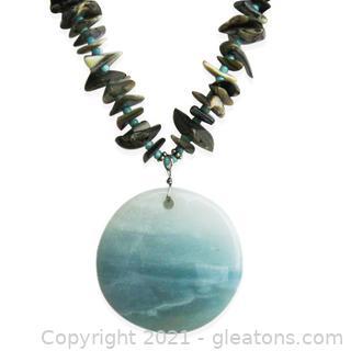 Amazonite and Abalone Beaded Necklace