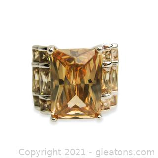 Imitation Peach Topaz Ring In Sterling Silver