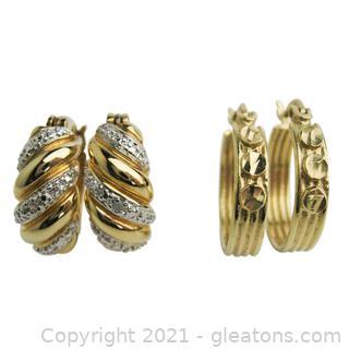 2 Pairs of Hoop Earrings (Diamonds!)
