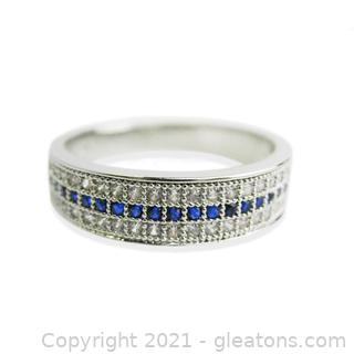 Imitation Sapphire Ring in Sterling Silver