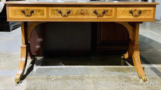 Elegant Wood Inlay 2 Pedestal Writing Desk