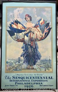 Framed 1926 International Exposition Philadelphia Poster
